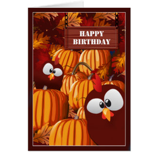 Funny Pumpkin Patch Birthday Wishes Greeting Card
