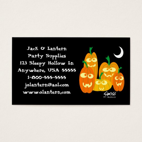 Funny Pumpkins Halloween Costumes Shop Business Card
