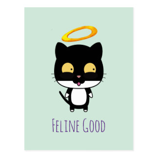 Funny Pun Black Cat With A Golden Halo Cartoon Postcard