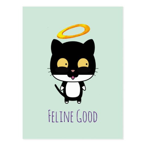 'Funny Pun Black Cat With A Golden Halo Cartoon Postcard