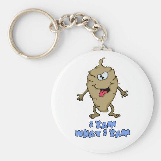 Funny Pun - I Yam What I Yam Basic Round Button Key Ring