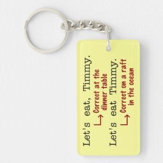 Funny Punctuation Grammar Double-Sided Rectangular Acrylic Key Ring