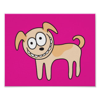 Funny puppy dog animal cartoon hot pink poster