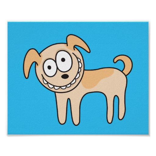 Funny puppy dog cute kids animal cartoon on blue poster