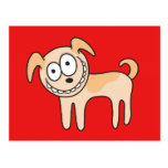 Funny puppy dog cute kids animal cartoon on red postcard