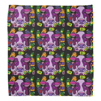Funny Purple Cow and Milk Abstract Art Kerchiefs