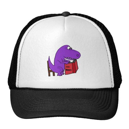 Funny Purple Dinosaur Reading Cookbook Cap