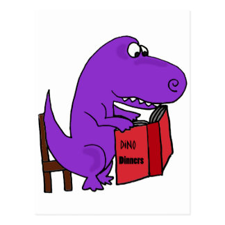 Funny Purple Dinosaur Reading Cookbook Postcard