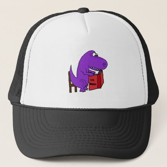 Funny Purple Dinosaur Reading Cookbook Trucker Hat