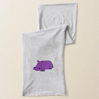 Funny Purple Hippo Cartoon Scarf