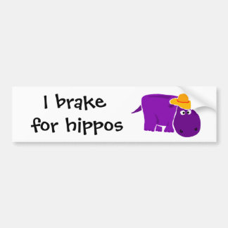 Funny Purple Hippo Wearing Yellow Hat Bumper Sticker