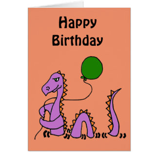 Funny Purple Loch Ness Monster with Green Balloon Greeting Card