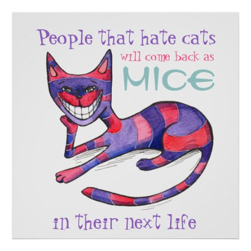 Funny Purple-Pink Cat Poster