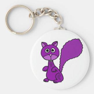 Funny Purple Squirrel Cartoon Basic Round Button Key Ring