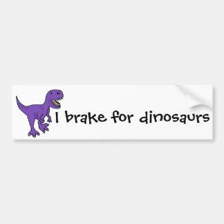 Funny Purple T-Rex Dinosaur Cartoon Bumper Sticker
