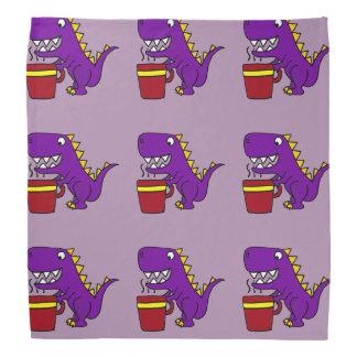 Funny Purple T-Rex Dinosaur with Coffee Mug Bandana