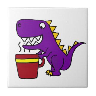 Funny Purple T-Rex Dinosaur with Coffee Mug Small Square Tile