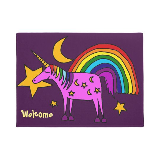 Funny Purple Unicorn and Rainbow Doormat