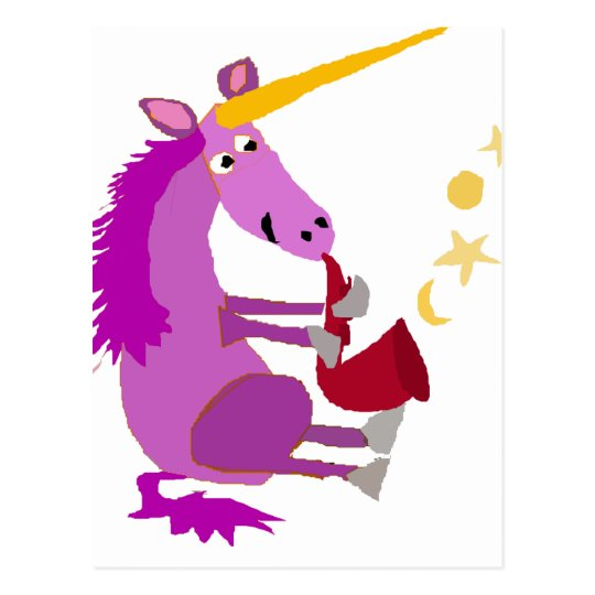 Funny Purple Unicorn Playing the Saxophone Postcard