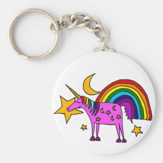 Funny Purple Unicorn with Rainbow and Stars Basic Round Button Key Ring