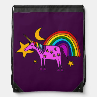 Funny Purple Unicorn with Rainbow Art Drawstring Bag