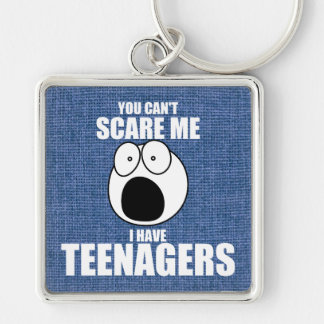 Funny quote about raising teenagers Silver-Colored square key ring