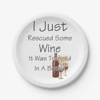 Funny Quote About Wine, Drinking 7 Inch Paper Plate