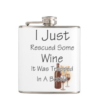 Funny Quote About Wine, Drinking Flask