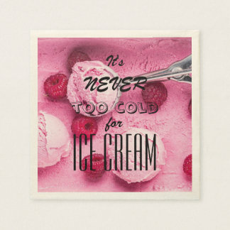 """Funny quote """"It's never too cold for ice cream"""" Disposable Serviette"""