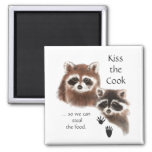 Funny Quote Kiss the Cook Cute Raccoons, Animal Square Magnet