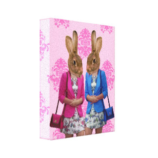 Funny rabbit girls going shopping stretched canvas prints