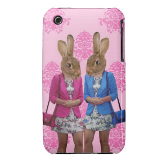 Funny rabbit girls going shopping iPhone 3 cover