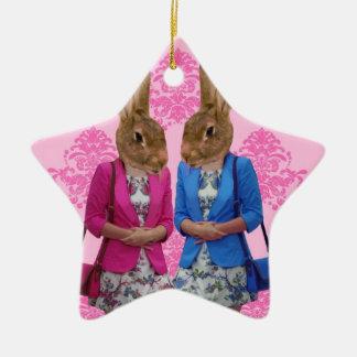 Funny rabbit girls going shopping christmas ornament