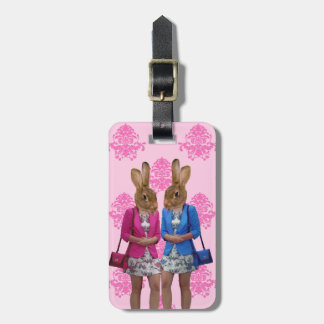 Funny rabbit girls going shopping luggage tag