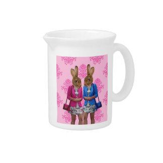 Funny rabbit girls going shopping pitcher