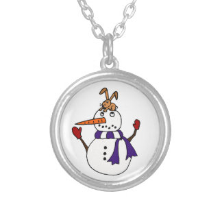Funny Rabbit on Snowman Reaching for Carrot Silver Plated Necklace