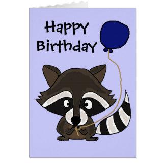 Funny Raccoon Holding Balloon Greeting Card