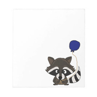 Funny Raccoon Holding Balloon Notepad