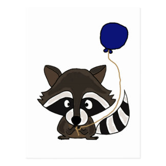 Funny Raccoon Holding Balloon Postcard