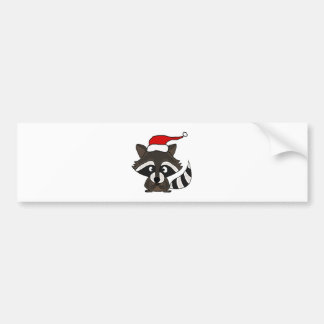 Funny Raccoon in Santa Hat Christmas Art Bumper Stickers