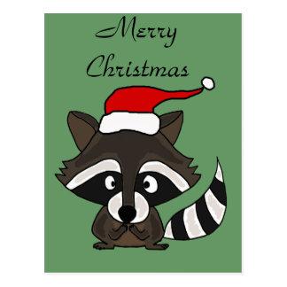 Funny Raccoon in Santa Hat Christmas Art Post Cards