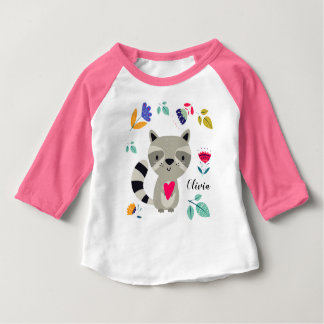 Funny Raccoon with Heart  Custom Baby T-Shirts