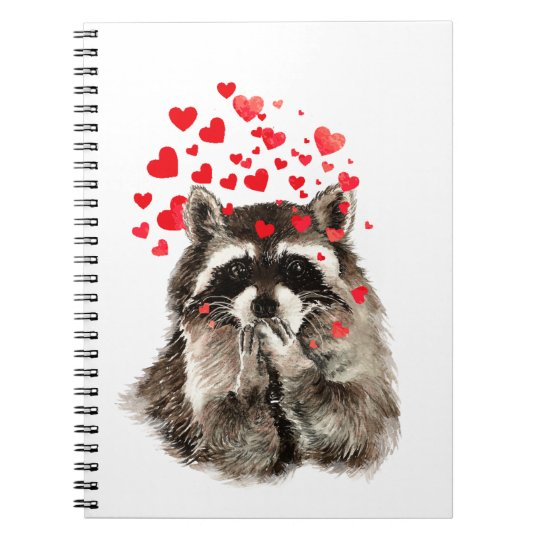 Funny Racoon Blowing Kisses Love Hearts Notebook