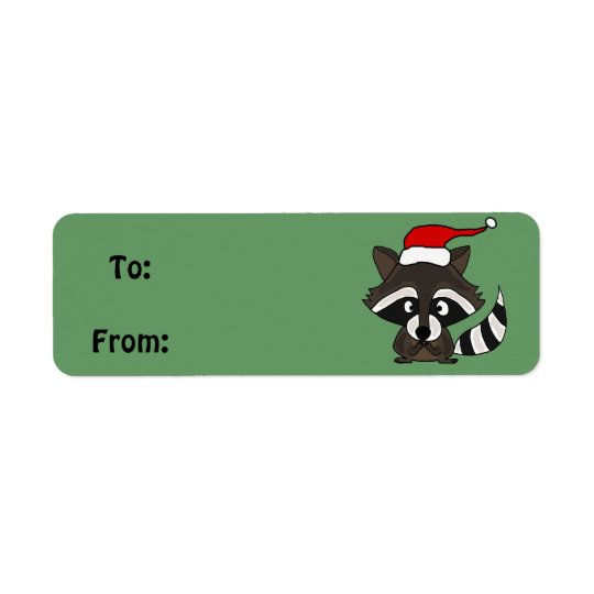 Funny Racoon Christmas Gift Tag or Address Label