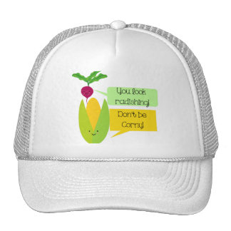 Funny Radish and Corn Vegetable Humor Cap