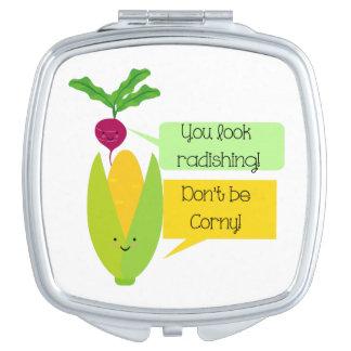 Funny Radish and Corn Vegetable Humor Vanity Mirror
