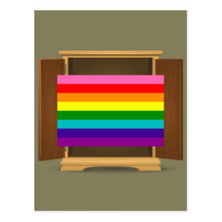 Funny Rainbow Flag LGBT coming out of the closet Postcard