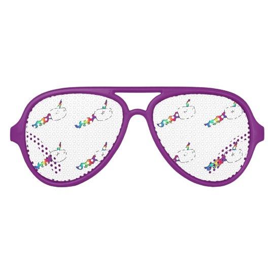 Funny Rainbow Unicorn Swimming Sperm Aviator Sunglasses