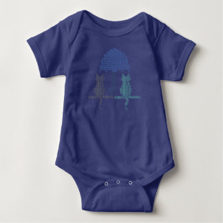 Funny Rainy Day Cats Umbrella Stitched Baby Bodysuit