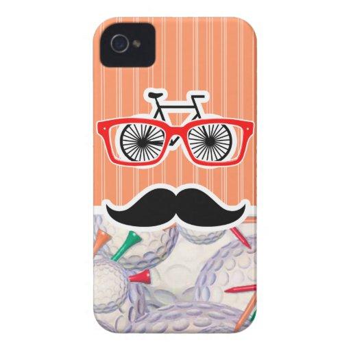 Funny Random Mustache, Golf Balls & Tees iPhone 4 Cases